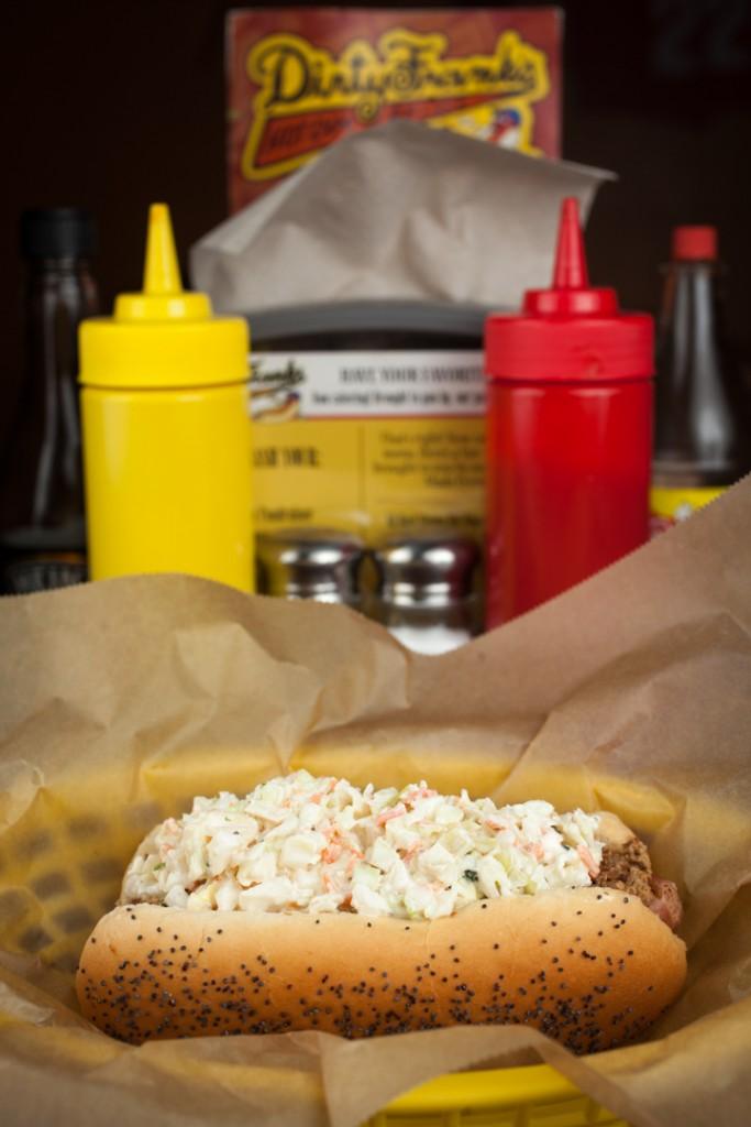 Brisket Slaw Dog at Dirty Frank's West. Shot 03/17/14 at Dirty Frank's West on the Hilltop in Westgate, Columbus. For Alive Eat & Drink Review. (Meghan Ralston)