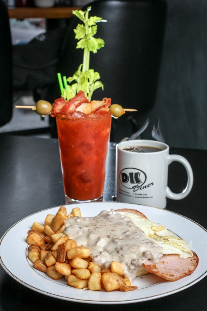 DK All the Way breakfast with coffee and Bloody Mary by DK Diner. Shot 03/06/15 at DK Diner in Grandview, Columbus for Alive Eat & Drink Feature. (Meghan Ralston)