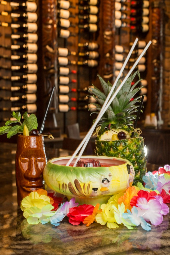 Headhunter, Volcano, and Pina Passion by Tai Tiki Polynesian Bar in the Short North, Columbus. Shot 07/08/15 for Alive Eat & Drink Feature. (Meghan Ralston)