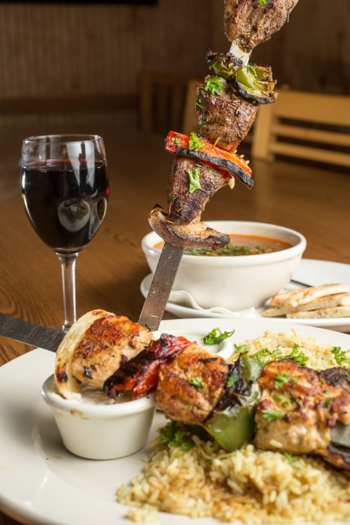 Kabob Combo w/glass of red wine and bowl of soup at The Olive Tree in Hilliard, Columbus for Alive Eat & Drink Feature. Shot 04/08/15. (Meghan Ralston)