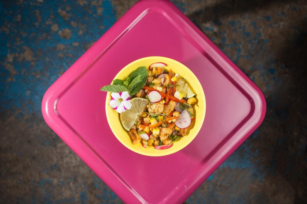 Katalina's Hominy Cracklin' Bowl. Shot 08/04/14 at Katalina's Cafe Corner in Victorian Village/Harrison West for Alive Eat & Drink Review. (Meghan Ralston)