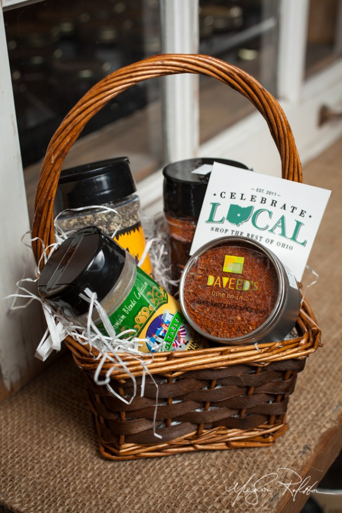 Spice Lover's basket, $25. Daveed's, Mom's Gourmet, Spicey Rooster and Seasonings of Saldnica. Shot 11/13/13 for Celebrate Local gift baskets of Ohio Proud products. Photograph by Meghan Ralston.